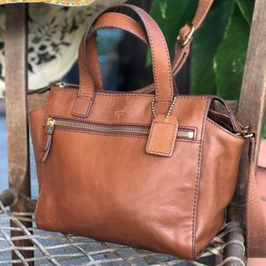 Fossil cross body leather brown bag